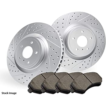 NOTE: GM Brake Code J55,JE5 Rear Premium Quality Cross Drilled and Slotted Coated Disc Brake Rotors And Ceramic Brake Pads - 2017 for Cadillac ATS One Year Warranty For Both Left and Right Stirling