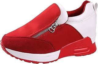 Cuñas Cierre De Cremallera Zapatos para Correr En Montaña Asfalto Aire Libre Deportes Zapatillas De Running para Mujer (Rojo,37)