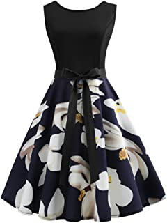 O-Neck Sleeveless Knee-Length Dress for Women Lily Print A-Line Lace Dresses for Women