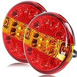 Hawkeye 2 PCS LED luce Rimorchio Fari Posteriori Amburgo Rotonda Luci Fanali Posteriori per Camion Furgone Trattore (rosso & ambra, il giro)