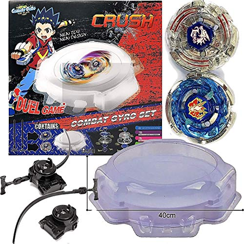 Crush Blades Metal Fusion Battle Tops Starter Kit, Combat Gyro Set Includes 2 Battle Tops Storm Pegasus and Lightning L Drago, 1 Large Stadium Arena, 2 Launchers, Duel Game for Kids Aged 6 and Above