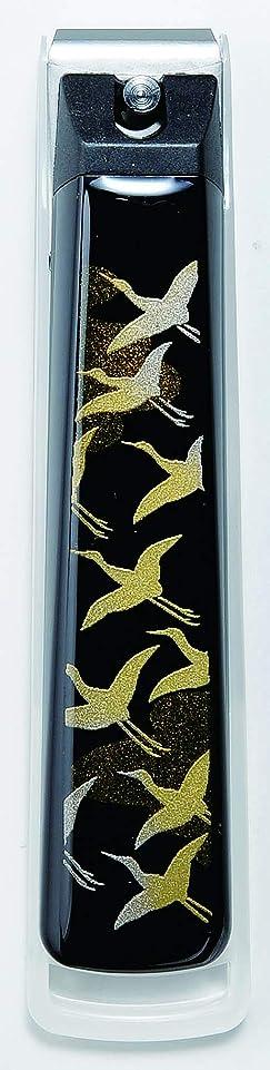 一方、ジョリーヒント蒔絵爪切り千羽鶴 紀州漆器 貝印製高級爪切り使用