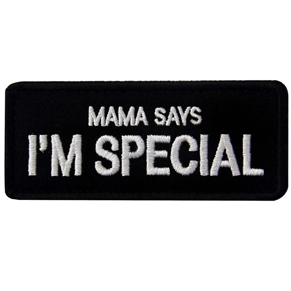 SpaceCar Mama SAYS I'm Special Funny Hook & Loop Military Army Tactical Morale Badge Decal Patch 3.54