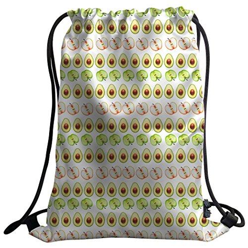 Violetpos Mode costumbre Unisex Turn Bolsa Mochila Bolsa de deporte Gym Bag fruta tarjeta aguacate Manzanas Frutas