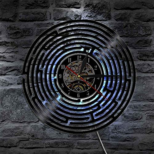 1 peça de arte de labirinto, relógio de vinil para decoração de parede, design de casa, vintage, feito à mão, arte minimalista, presente