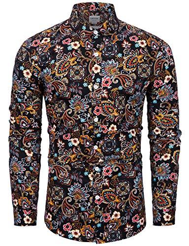 fohemr Blumen Hemd Herren Langarm Muster Paisley Freizeitshemd Langarmhemd Casual Shirt 100% Baumwolle Schwarz Paisley Print Small