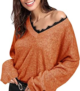 Wenini Women Sexy V-Neck Long Sleeve Lace Knitted Pullover Loose Sweater Jumper Tops