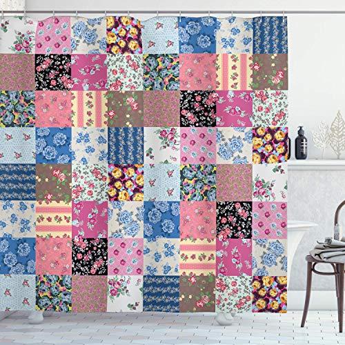 N\A Vintage Duschvorhang, geometrische Karierte Quadrate mit blühenden Blumen Frühlingssaison Pflanzenarrangement, Stoff Stoff Badezimmer Dekor Set mit Haken, Blue Fuchsia