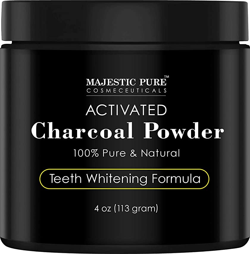 トースト調整可能移動Majestic Pure Teeth Whitening Activated Charcoal Powder - Natural  歯のホワイトニング ココナッツ チャコールパウダー4 oz (113g)