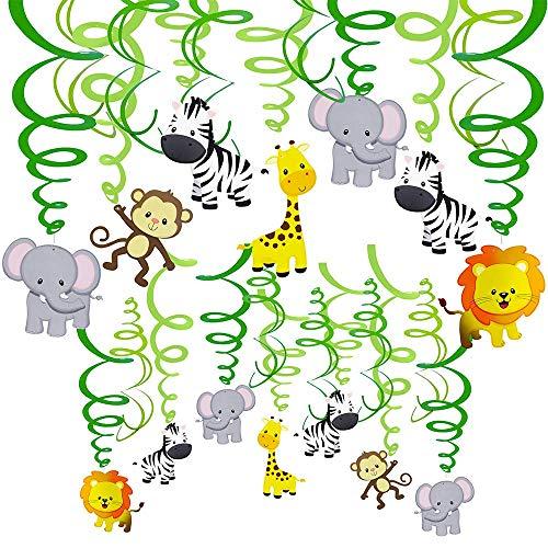 30 Stück Dschungel Tiere hängen Swirl Dekorationen grüne Safari Party Wald Tier Thema Zubehör für Baby Dusche Kinder 1. Geburtstag Kindergarten Klassenzimmer Schlafzimmer Badezimmer Tisch Decke Dekor