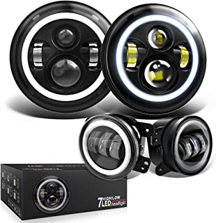 Spead Vmall 7 Inch 60W Black LED Headlights with White DRL/Amber Turn Signal + 4 inch LED Fog Lights with White DRL Halo Ring for Jeep Wrangler 07-2017 JK LJ Tj Lj JKU Unlimited