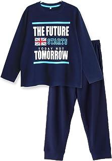 【ノーブランド品】綿100% 春?夏 長袖キッズパジャマ ボーイズ 薄手のTシャツパジャマ ユニオンジャックプリント