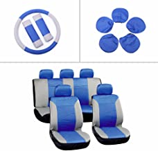 ECCPP Universal Car Seat Cover w/Headrest/Steering Wheel/Shoulder Pads - 100% Breathable Embossed Cloth Stretchy Durable for Most Cars Trucks Vans(Blue/Gray)