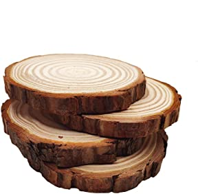 4.7-5.5 inch 4pcs Unfinished Natural Wood Slices with Tree Bark Diameter Large Circle Rustic Wedding Centerpiece Disc Coasters Christmas Ornaments DIY