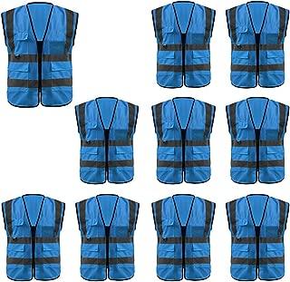 GOGO Multi Pockets High Visibility Zipper Front Safety Vest with Reflective Strips Uniform Vest, Pack of 10-Blue-XL