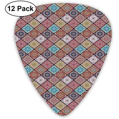Gitaar Picks 12-Pack, Kleurrijke Mozaïek Tegel Patroon Met Abstracte Bloemenetnische Elementen Turkse Cultuur