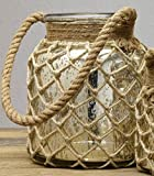 Market Street Medium Mercury Glass Jar with Rope Handle - for Florals, Candle, Shelf Decor, Kitchen Flowers