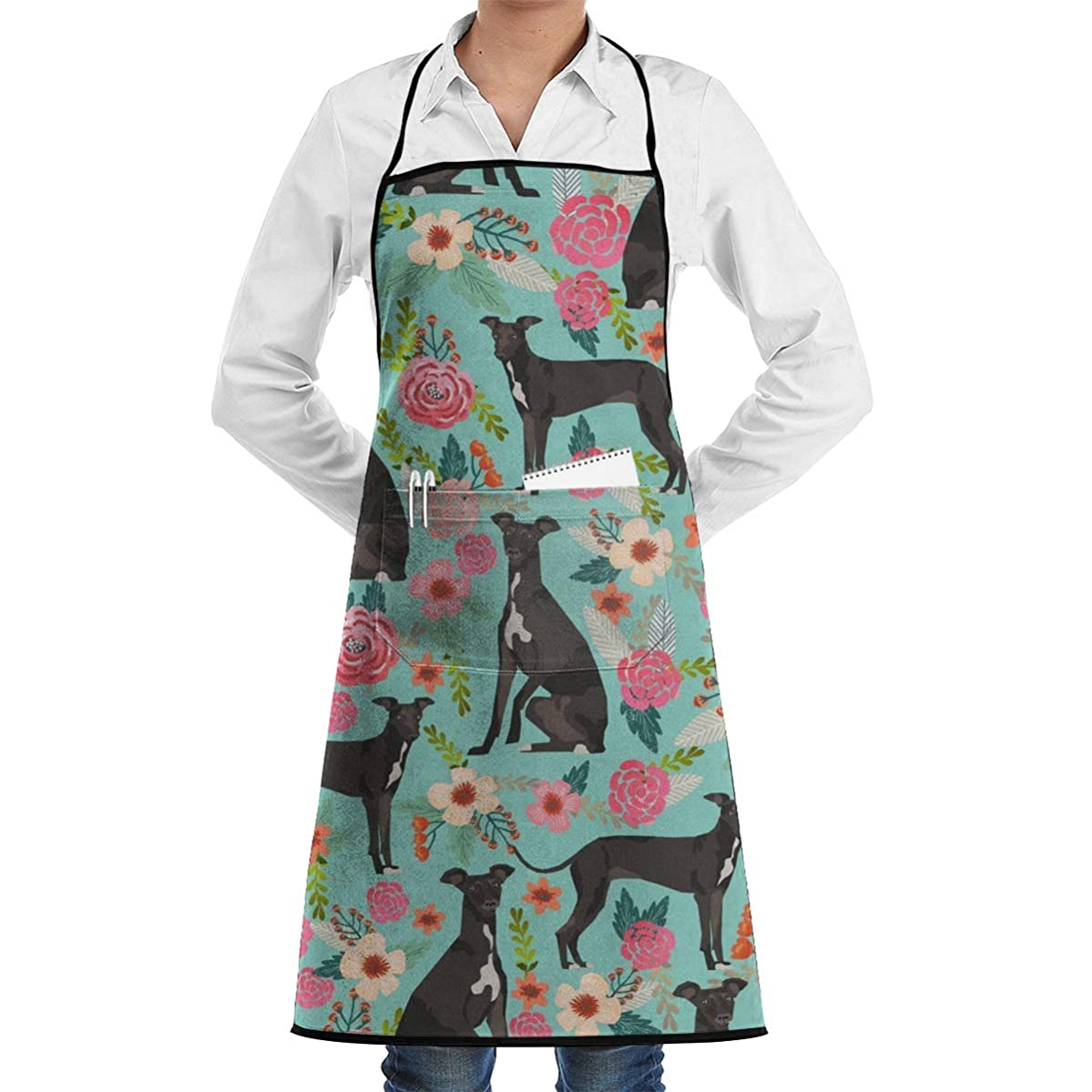 LOVE CORNER Men Women Professional Chef Bib Aprons Kitchen Apron Waterdrop Resistant Apron with Large Pocket for Cooking, Grill, Baking, BBQ, Holidays, (Italian Greyhound)