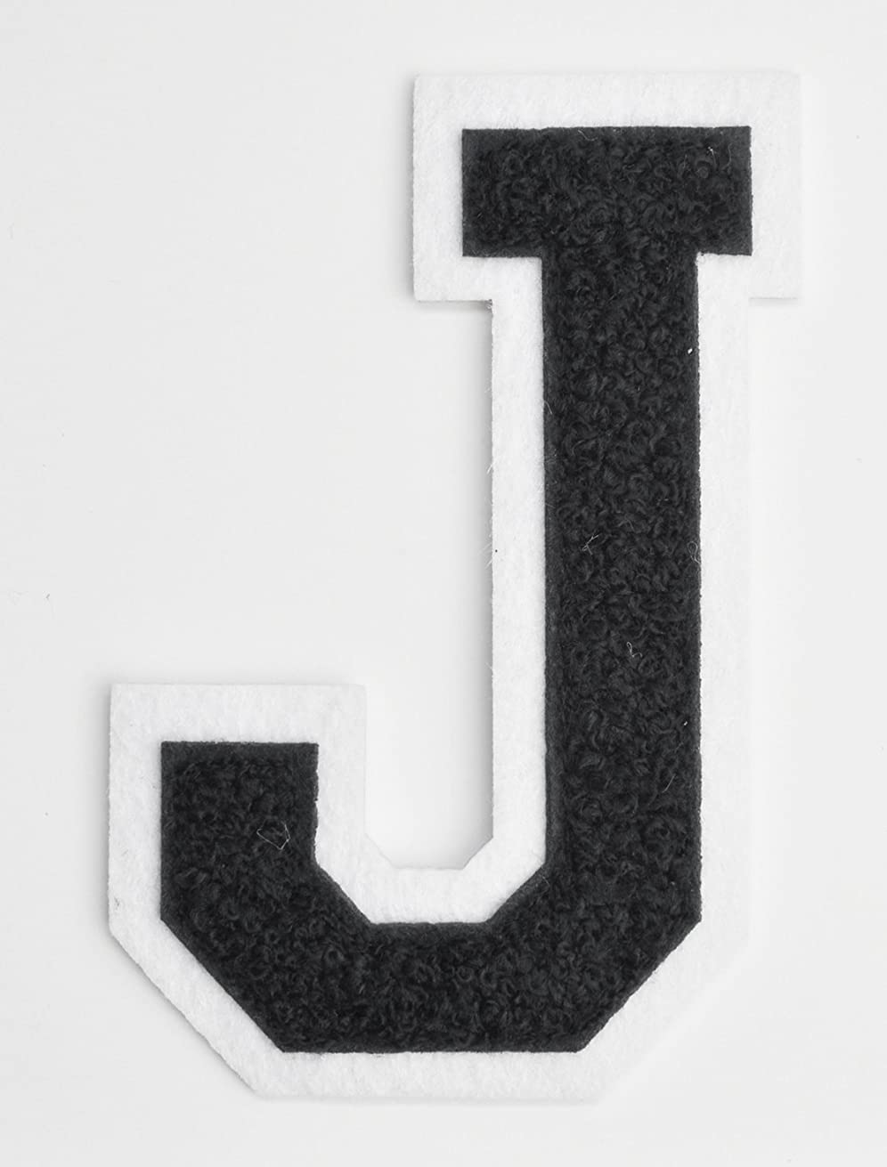 Varsity Letter Patches - Black Embroidered Chenille Letterman Patch - 4 1/2 inch Iron-On Letter Initials (Black, Letter J Patch)