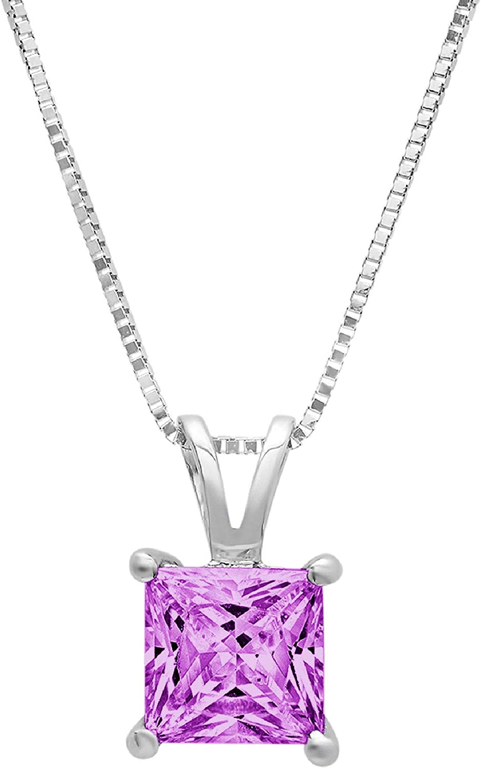 Clara Pucci 0.6 ct Brilliant Princess Cut Stunning Genuine Flawless Simulated Alexandrite Gemstone Solitaire Pendant Necklace With 18