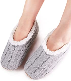 2 Pairs Womens Thick & Warm Slipper Socks with Grippers - House Socks