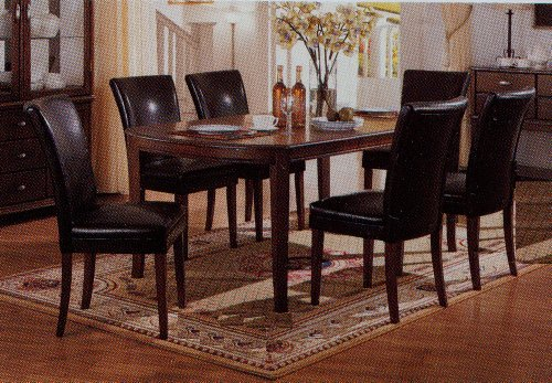 Hot Sale 7pc Soho Style Birch & Veneers Dining Table & Leatherette Parson Chairs Set