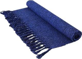 USTIDE Navy Blue&Black Hand Woven Cotton Rug Braided Floor Runner Rug Tassels Floor Runner for Laundry Room/Kitchen/Bathroom/Bedroom 23.6