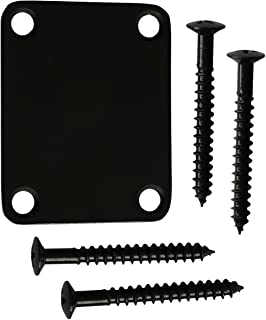 Metallor Guitar Neck Plate Standard 4 Holes with Screws 64×51mm Compatible with Strat Tele Style Electric Guitar Jazz Bass Parts Replacement Pack of 1Set. (Black)