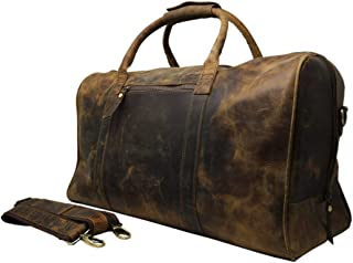 "Jaald 20"" Buffalo Leather Duffle Bag Travel Carry-on Luggage Overnight Gym Weekender Bag"