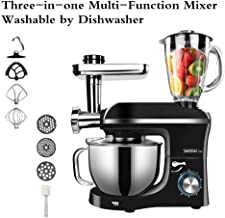 Mixer Blender with 5.5L Stainless Steel Bowl, 1100W Meat Grinder Juice Blender 6 Speed Electric Kitchen Aid Food Processor Mini Black Mixing