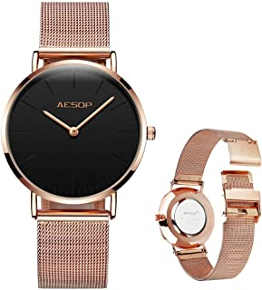 Women Rose Gold Watch Analog Quartz Ultra-Thin Stainless Steel Mesh Band Minimalist Casual Ladies Watch Mother's Day Gift