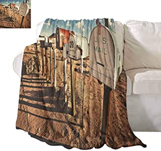 SONGDAYONE Throw Blanket United States Daily use Old Mailboxes in West America Rural Rusty Landscape Grunge Countryside W40 x L60 Brown Blue White