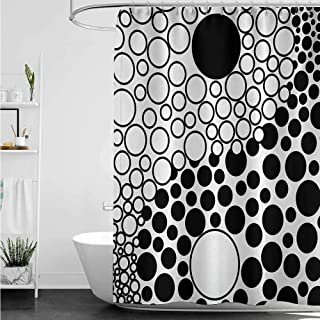 home1love Bathroom Shower Curtain,Ying Yang Abstract Yin Yang Design Stylized with Large Retro Dots Counter Forces of Globe,Metal Build,W36x72L,Black White