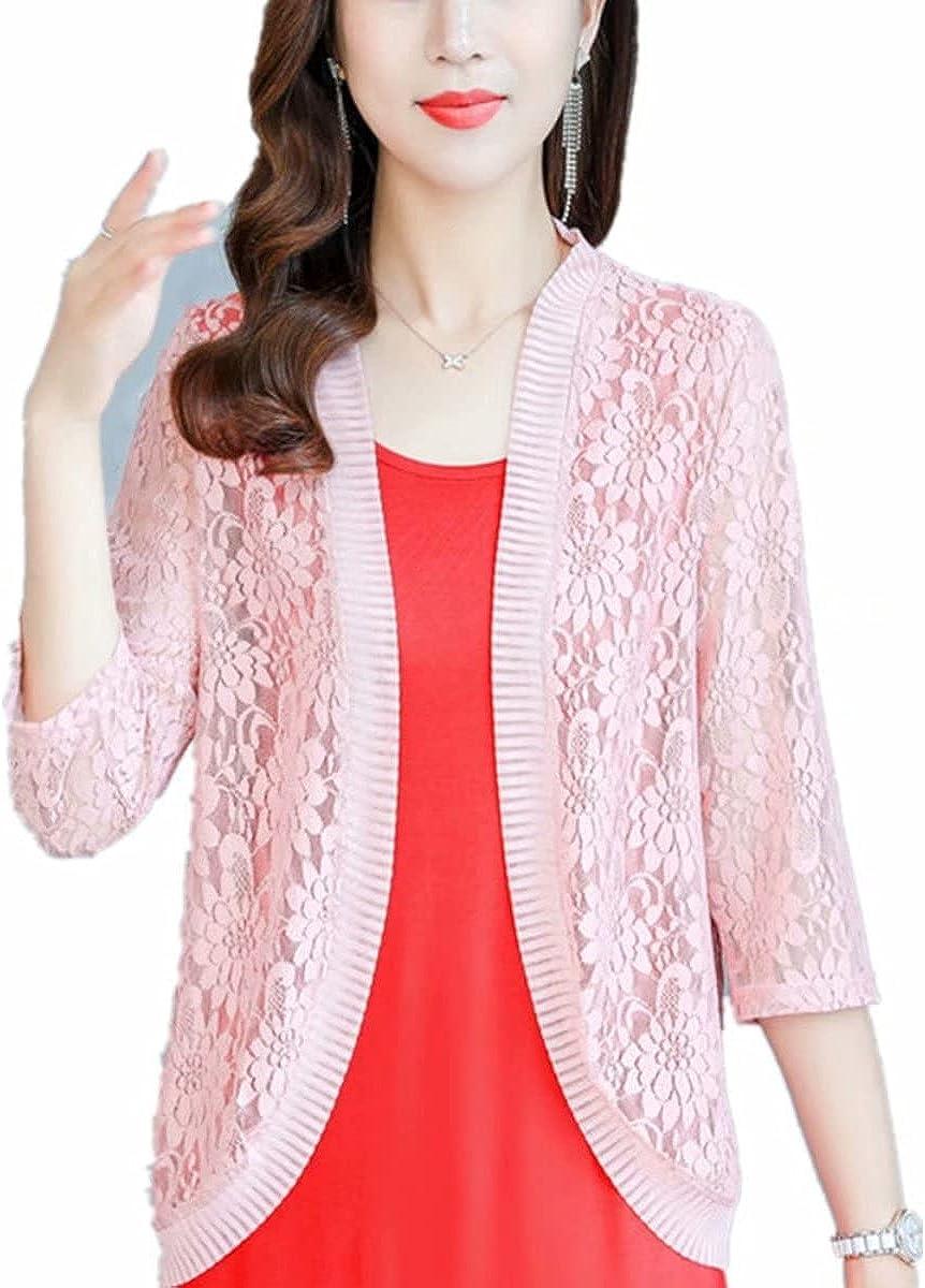 Women's 3/4 Sleeve Shrug Open Front Cardigan Bolero Jacket Lace Crochet Round Hem Cardigan