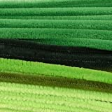 Vaessen Creative Pipe Cleaners Mix For Crafts   8 mm x 30 cm   50 Pieces, Synthetic Fiber, Green, 30 x 0.8 x 0.1 cm