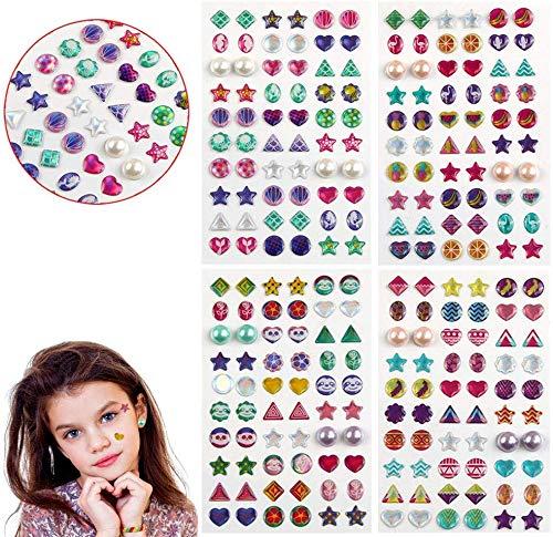 BLOUR 240 Stück Sticker Ohrringe 3D Edelsteine, Sticker Girls Sticker Ohrringe, Selbstklebende Glitter Craft Crystal Sticker