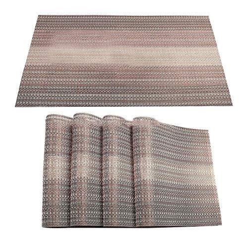 Hunpta - Juego de 4 manteles individuales de vinilo resistentes al calor, lavables y antideslizantes de plástico para mesa de comedor
