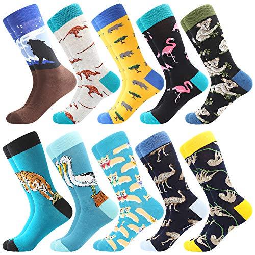 BONANGEL Herren Lustige Bunte Socken,Herren witzige Strümpfe, Fun Gemusterte Muster Socken, Verrückte Socken Modische Mehrfarbig Klassisch als Geschenk, Neuheit Sneaker Crew Socken (10 Paar-Wolf 2)