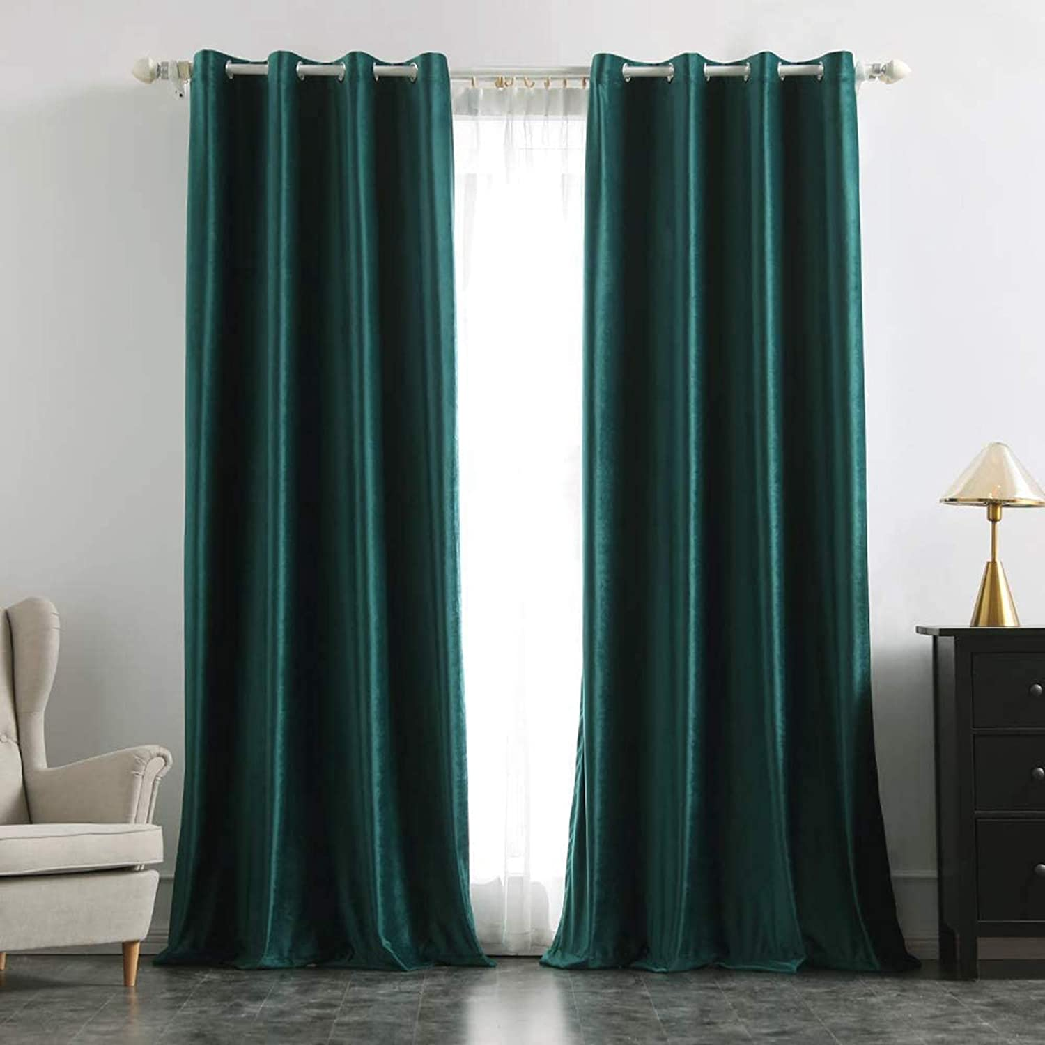 MIULEE 2 Panels Velvet Curtains Room Darkening Blackout Solid Soft Grommet Curtains Thermal Soundproof Curtains / Drapes / Panels for Living Room Bedroom 52 x 90 Inch Dark Green Dark Green W52 x L90