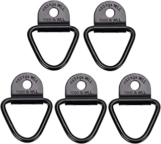 OwnMy Pack of 5 Cargo Tie Down Anchors Hooks, Heavy Duty Black V Rings Bolts Forged Lashing Ring 1000 lbs Capacity Trailer Anchors Hooks