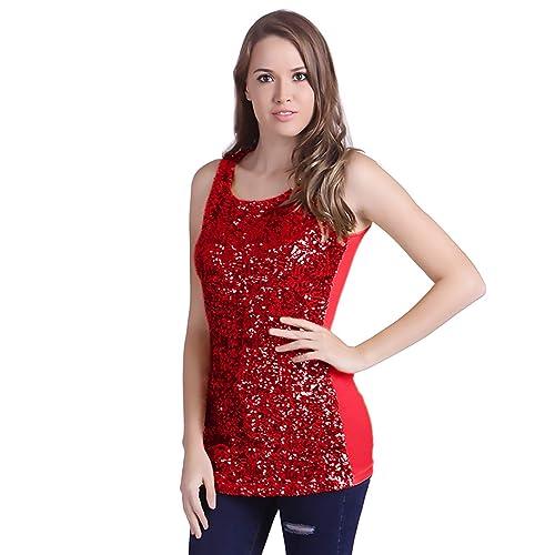 466c4e48418e2 HDE Women s Sequin Tank Top Sleeveless Base Layer Red Sparkle Glamour Shirt