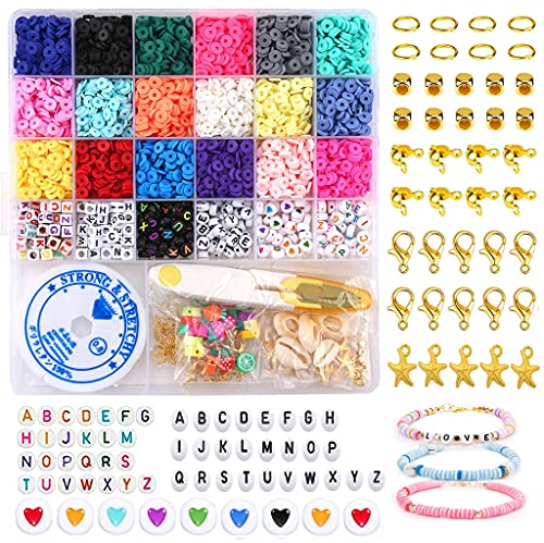 Clay Flat Beads 4100pcs+250pcs Letter Beads Kit, for DIY Jewelry Marking...