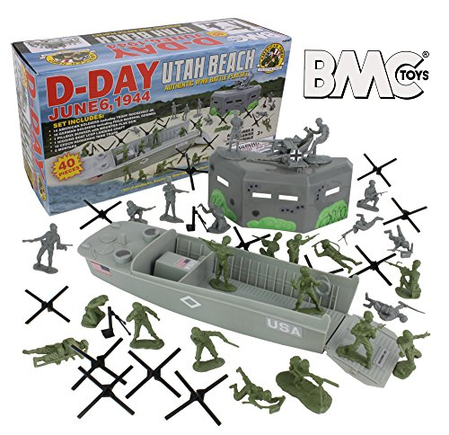 BMC WW2 D-Day Plastic Army Men - Utah Beach 40pc Soldier Figures Playset