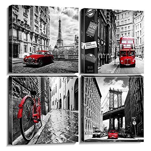 RuYun Canvas muurkunst decor zwart wit stad Parijs London gebouw straat rood bus oldtimer foto's Home Artwork-60x60cm met binnenframe