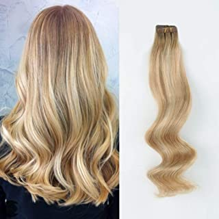 ABH AmazingBeauty Hair Semi-permanent Pre-taped Rooted highlight tape in hair extensions human hair, Real Remy Human Hair, Dark Dirty Blonde-Platinum Blonde with Ash Brown Root R8-12-60, 20 Inch