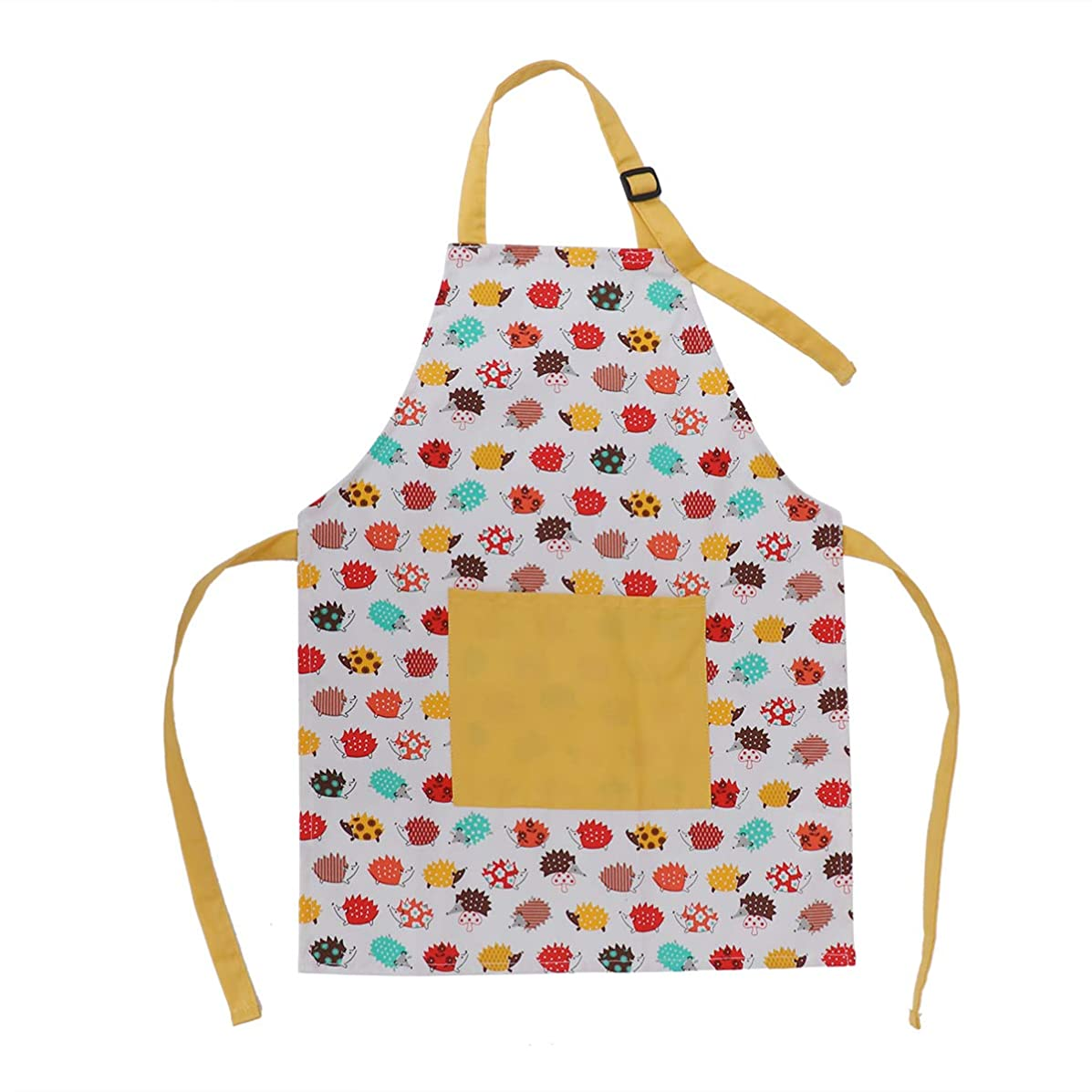 BESTONZON Kids Aprons Cotton Artists Aprons with Adjustable Neck Strap and Pocket Cartoon Hedgehog Child Chef Aprons for Boys and Girls