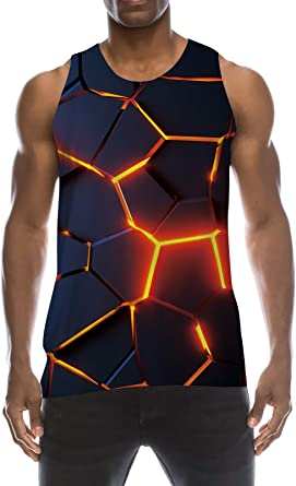 TUONROAD Camiseta de Tirantes Deportes para Hombre 3D Tops Camisa sin Mangas Chaleco Verano T Shirt Fitness S-XXL