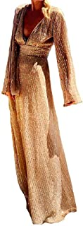 فساتين نسائية مثيرة عميقة برقبة على شكل حرف V بأكمام طويلة لامعة للنساء فستان طويل أنيق بفتحة عالية