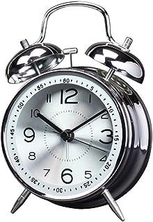 目覚まし時計電池式ナイトライトバックライトサイレントホームベッドルームベッドサイドテーブルクロックキッズ学生ツインベルメタルデザイン Brwzjlizn