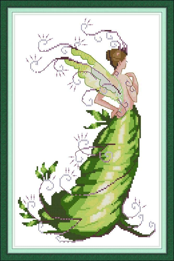 Full Range of Stamped Cross Stitch Kits Printed 11CT 13.4X 19.3 100/% Cotton DIY Embroidery Starter Kits DIY Needlework for Beginners Kids Adults Plant Fairy